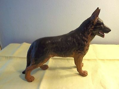 "Hand Painted German Shepherd Dog Figurine, Iowa, 6"" tall x 8"" long"