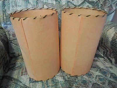 Vintage Retro Two  9.5 inch Tall Fiberglass Clip On Lamp Shades Orange