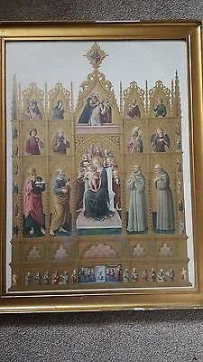 Antique Religious icon picture Mother and Child with Attendant Saints framed
