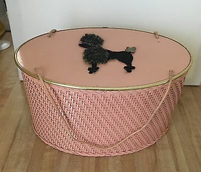 Vintage Pink Poodle PRINCESS ALGONQUIN ILLINOIS Oval Wicker Sewing Basket