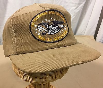 NRA-ILA Supporter - VTG 80's Snap Back Corduroy Hat Cap Tan H468