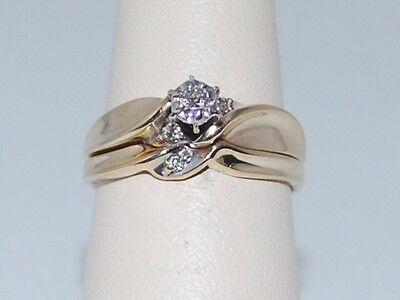 14k Gold ring and band with Diamonds
