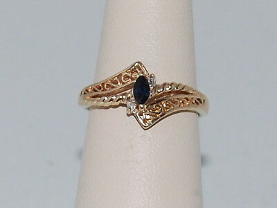 10k Gold ring with Sapphire(September birthstone) and diamonds