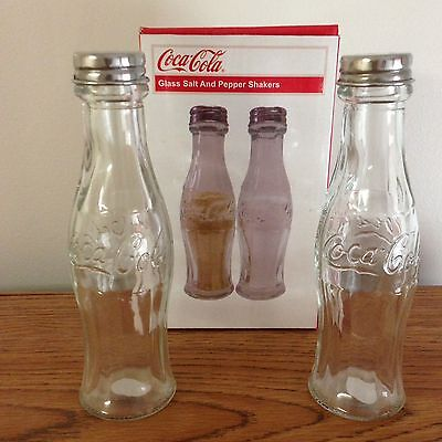 Coca Cola Glass Bottle Salt And Pepper Shakers
