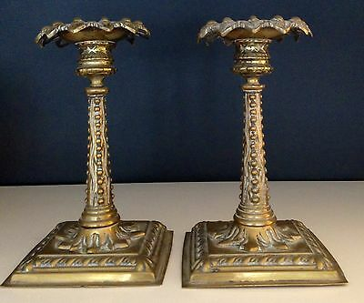 Vintage c19th French Art Nouveau Candle Holders Brass On Square Weighted Base