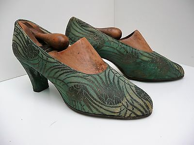 1920s Original Green & Gold Metallic Brocade Court Shoes Pumps UK 5