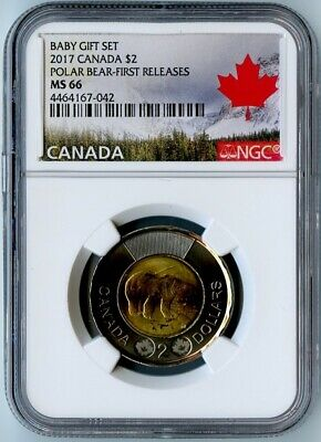 2017 Canada Ngc First Releases Ms66 Baby Gift Set-Polar Bear $2 Toonie! Rare!
