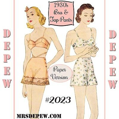 Vintage Sewing Pattern Multi Size Reproduction 1930's Bra and Tap Pants #2023