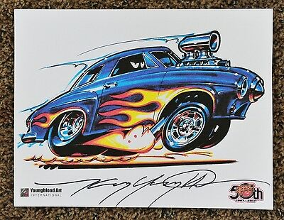 50Th Kenny Youngblood Signed Studebaker Dragster Print Cartoon Hot Rod Flames