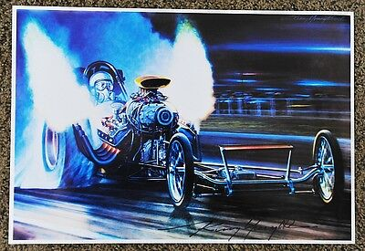 New Kenny Youngblood Signed The Surfers Front Engine Dragster Night Flames Print