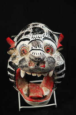 Mexican Wood Hanging Mask Folk Art Handpainted/Crafted Collectible White Jaguar