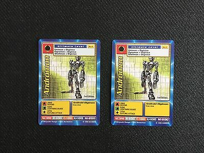 1999 Bandai Lot of 2 Andromon Bo-11 1st Edition Digimon CCG Cards