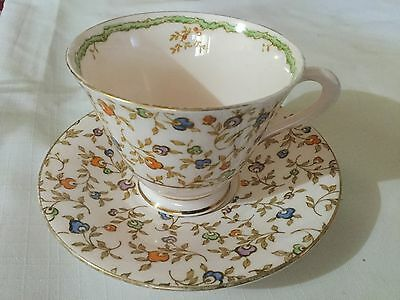 Tuscan Plant Bone China  Cup And Saucer England   Dolly Varden Pattern
