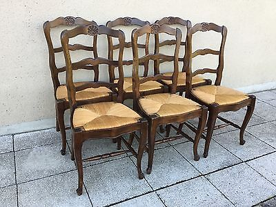 Antique French Set Of Six Oak & Rush Ladder Back Dining Chairs Louis XV Style