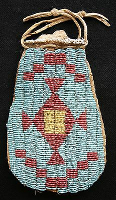 Circa 1880's Cheyenne Indian Beaded Pouch Sinew Sewn On Deer Hide
