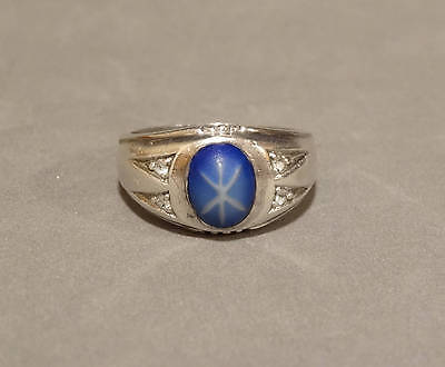 Vintage Faux Blue Star Sapphire Ring Sterling Silver Large Size 11 Mens Art Deco