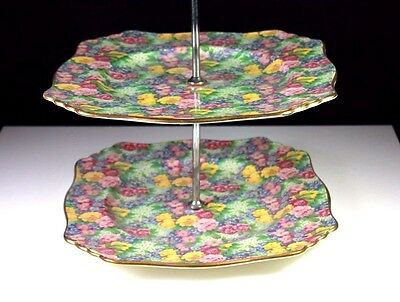 Rare Art Deco Royal Winton Chintz Julia Pattern Two Tier Cake Stand C.1950'S