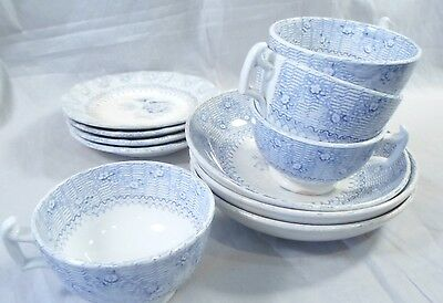 early 1800's 11 pc J&G Alcock Staffordshire blue&white Child's Blantyre Teaset