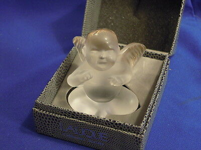 Lalique Elton John Cherub / Angel Figurine w/ 24k Gold Accent Wings in Box. 1997