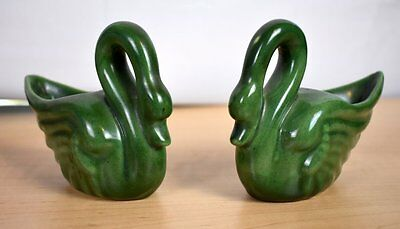 "Niloak 1942 Pair Of Green Swan Planters Collection ""victory Wings"" Vhtf"