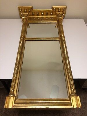 Antique LG 1880's Federal Wood Gold Gilt Wall Mirror T. A. Wilmurt & Son NY