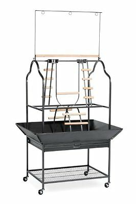 Prevue Hendryx 3180 Pet Products Parrot Playstand Black Hammertone Cage Stands