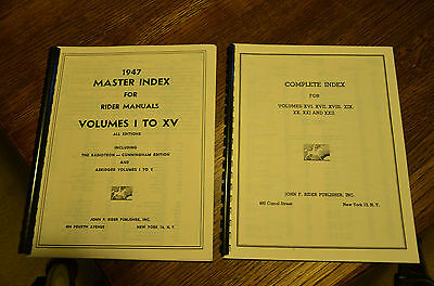 Index to Rider Perpetual Radio Manuals Volumes 1 to 22 (Reprint)  +Abridged 1-5