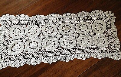 Vintage ecru cotton lace crochet table runner 70cm long  FREE POST