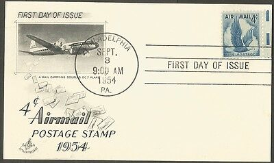 Us Fdc 1954 4C Air Mail Postal Card First Day Of Issue Art Craft