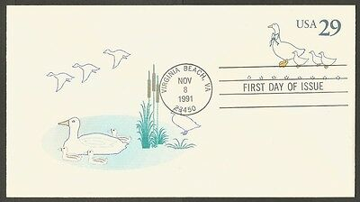 Us Fdc 1991 29C Pre Paid Envelope Usps First Day Of Issue Cover #9 / 66
