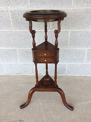 Baker Solid Mahogany Plant Stand/fern Stand With Brass Liner (32H X 19W)