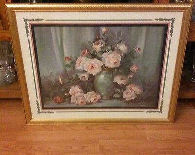 Vintage Home Interiors/Homco Gold Framed Large Pink Roses Flower Vase Picture