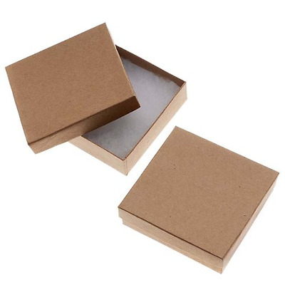 Beadaholique 16-Piece Kraft Square Cardboard Jewelry Boxes, 3.5 by 3.5 by 1-Inch