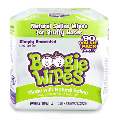 Boogie Wipes Soft Natural Saline Wet Tissues for Baby and Kids Sensitive Nose, H