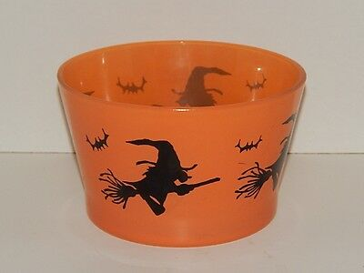 Indiana Glass Halloween Flying Witch Ice Bucket Bowl - GUC