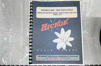 Hickok 533A Tube Tester Ultimate Manual With 80 Pages Test Data + Added Info
