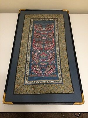 Antique Vintage Chinese Silk Embroidery Tapestry Dragon Boats, Finely Framed