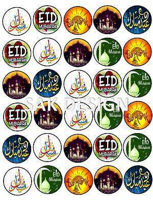 Eid Mubarak 30 X Cup Cake Toppers On Edible Wafer/Rice Paper
