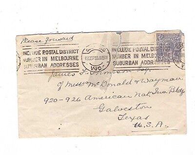 Australia 1933 3d GeoV on Cover to TEXAS, cds GEELONG Vic