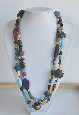 XXL Antique Venetian African Glass Trade Bead Wedding Necklace Padre Millefiori