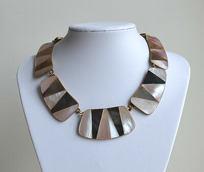 Vintage Handmade Tribal Necklace Runway Collar Brass Mother Of Pearl Inlay