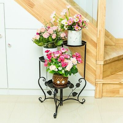 Hot elegant white Black Metal Plant Stand / flower Pots Shelf Unit