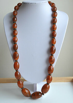 ART DECO Reconstituted Amber or Plastic RUNWAY GRADUATED NECKLACE metal spacers
