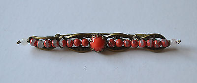 Edwardian Brooch Bar Pin Coral Or Coral Glass Cabochon Painted Glass Beads
