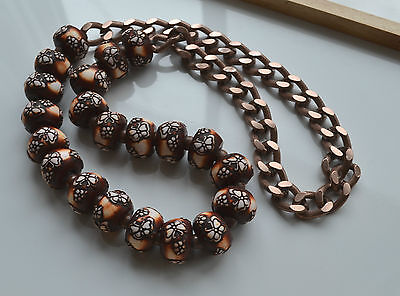 Chunky Molded Resin & Cooper Tone Chain Boho Runway Necklace Butterfly Design