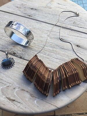 925 Silver Bulk Buy! Pattern Bangle, Wooden Necklace With Silver Chain & Pendant