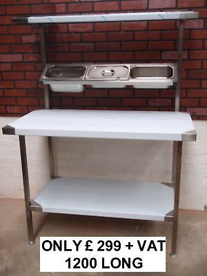 New Stainless Steel Chefs Table Prep Bench With Shelf *** Fully Assembled ***