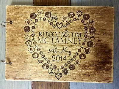 Laser Engraved Personalised Wedding Guest Book 3mm Plywood Rustic Wood Finish A5
