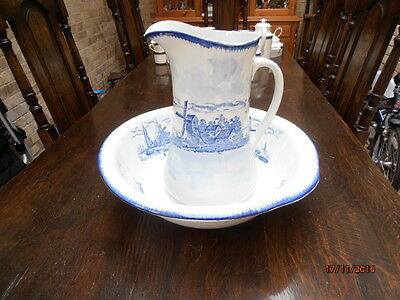 Jug and Bowl Pitcher and bowl blue and white Empire ware Stoke on Trent England