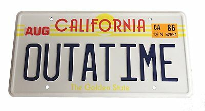 OUTATIME Back To The Future License/number Plate Marty McFly DMC-12 Delorean